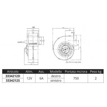 ASPIRATORE PORTATA 750 MC/ORA